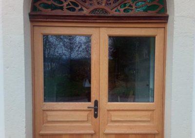 Porte d'entrée double en bois massif (chêne) avec vitrage et vitraux